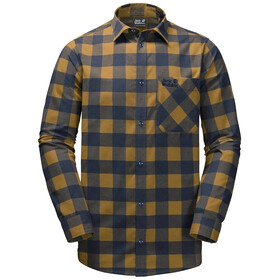 Jack Wolfskin Red River Longsleeve Shirt Heren, golden amber checks